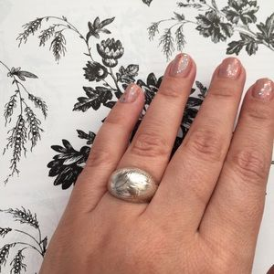 Vintage Silver Etched Dome Ring